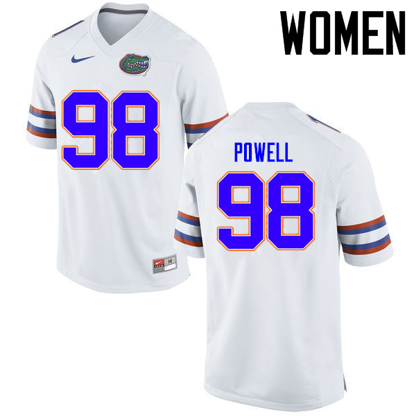 Women Florida Gators #98 Jorge Powell College Football Jerseys Sale-White